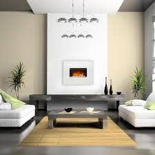 attractive planted white electric fireplace on white painted wall