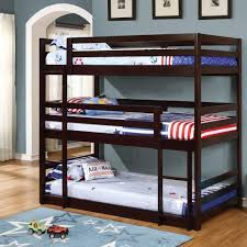 Triple Decker Bunk Bed Triple Twin Bunk Bed In Cappuccino - Three bunk bed