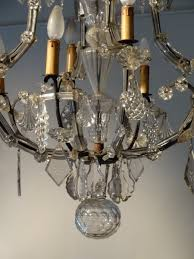 Sculptured Chandelier Crystal Chandelier And Wrought Iron From The Late 18th Century