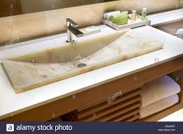 Wooden Vanity Units For Bathroom by Modern Marble Handbasin In A Hotel Bathroom In A Wooden Vanity