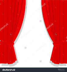 vector illustration window treatments red curtains stock vector