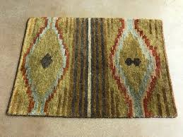 Blue And Gold Rug South West Rug Dark Gold Rust Light Blue Side View Pv Rugs