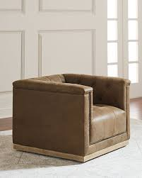 Brown Leather Accent Chair Jardene Tufted Leather Swivel Accent Chair Neiman