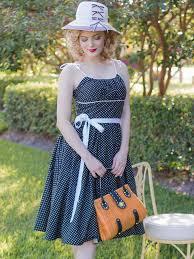 black white polka dot 50s style sundress full skirt dresses blue