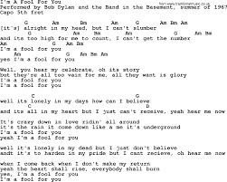 The Basement Lyrics Bob Dylan Song I U0027m A Fool For You Lyrics And Chords