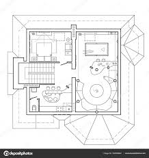 the attic floor in the cottage architectural plan of a house