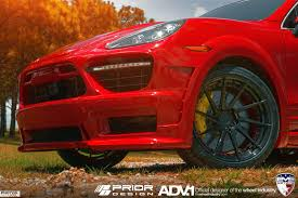 red porsche black wheels prior design porsche cayenne adv10r m v2 sl gloss black