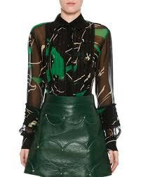 green chiffon blouse valentino chiffon panther print blouse green black neiman