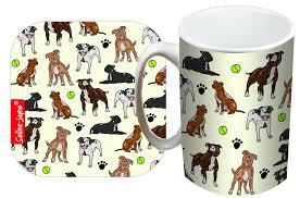 selina jayne staffy dogs mug and coaster gift set