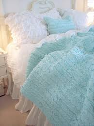 Shabby Chic Blue Bedding by Dreamy Aqua Blue Ruffles Quilt King Shabby Romantic Cottage Chic
