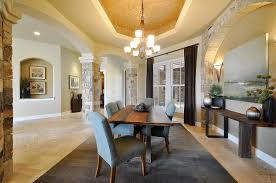 interior rustic modern home with chandelier charming stone pillar