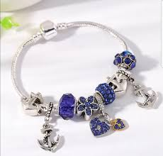 pandora diy bracelet images Spinner love heart bracelet for women blue crystal ball anchor png