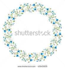 watercolor flower circle frame perfect invitation stock