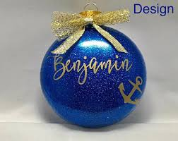 etched glass ornaments personalized nautical ornament etsy