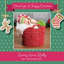christmas themed baby thank you card merry christmas