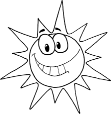 coloring page of cartoon character smiling sun coloring point