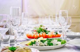 Dinner Table The Served Dinner Table In A Restaurant Stock Photo Picture And