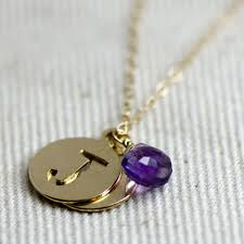 custom necklace pendant crafted initial and amethyst necklace by britta ambauen