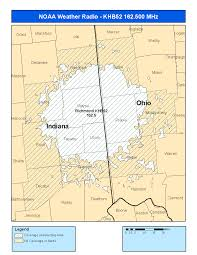 Ohio Area Code Map by Noaa Weather Radio Local Transmitters