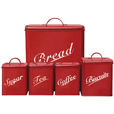kitchen storage canister set retro biscuits tea coffee sugar bread