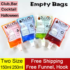 20 pk empty blood vampire spout bag drinking spout pouch club bar