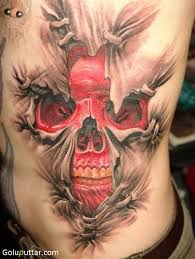 skull on ripped skin photos and ideas