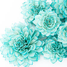 10 teal wooden flowers wedding decorations wedding flowers