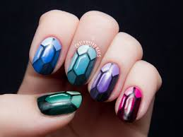 chalkboard nails gemstones tutorial nail art pinterest gem