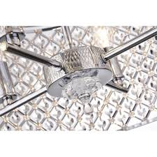 4 light round drum semi flush mount crystal chandelier chrome finish