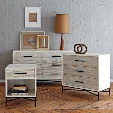 Small Nightstand With Drawers Wood Tiled 3 Drawer Dresser West Elm