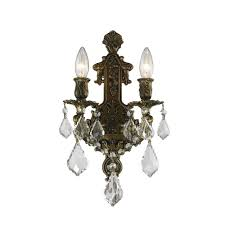 Crystal Wall Sconce by Worldwide Lighting Versailles 2 Light Antique Bronze Clear Crystal