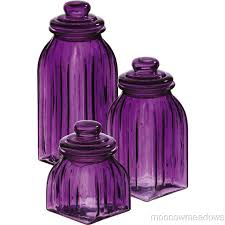 purple canisters for the kitchen purple glass jars 3pc canisters kitchen decor storage violet