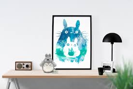studio ghibli my neighbor totoro watercolor art poster zoom