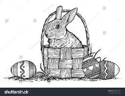 bunny basket eggs rabbit bunny basket eggs easter illustration stock vector
