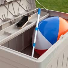 suncast 129 gallon light taupe resin storage seat deck box db9750