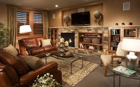 cottage livingroom fireplace with finished leather for