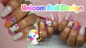 acrylic nails unicorn nail design rainbow nails youtube