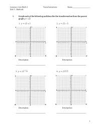 Graphing Square Root Functions Worksheet Practice For Square Root Graph Transformations