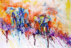 curious baby elephant painting by zaira dzhaubaeva