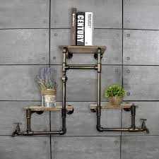 vintage on the shelf 1pc vintage industrial iron pipes wall mounted wood bookshelves