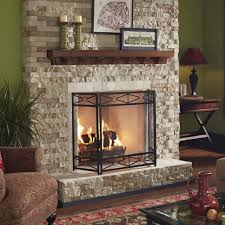 living room wall mounted fireplace extended maple mantel shelf