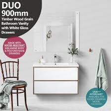 900mm Bathroom Vanity by Duo 900mm White Oak Textured Timber Wood Grain Vanity With Gloss