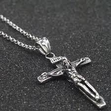 cross with jesus necklace images Cross pendant silver chain jesus charm stainless steel necklace at jpg