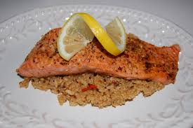 poached salmon with quinoa and brown rice anna u0027s cuisine