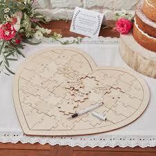 wooden heart jigsaw alternative guest book uk wedding favours