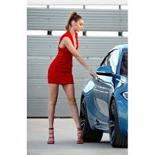 hadid red plunging neckline short cocktail party dress bmw m2 ad