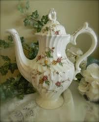 vintage brown transferware coffee pot tea pot shabby chic cottage styl