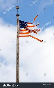 Ripped American Flag Torn American Flag Flying Rusty Pole Stock Photo 106717295