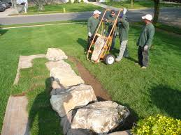 garden design rocks and stones as ornamental features before