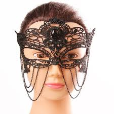 black lace mask mystical black lace half hollow out chains masquerade masks
